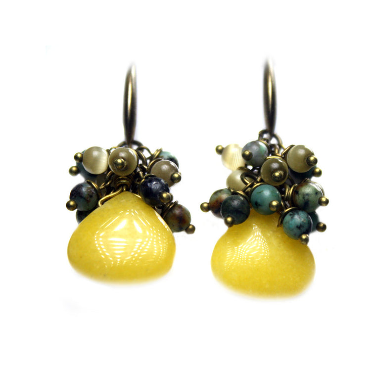Earrings Bohemian Green - Yellow Nephrite, CatEye, African Turquoise