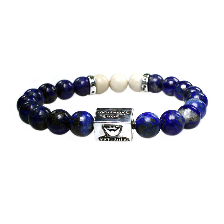 Men's Luxury bracelet B10 - Lapis Lazuli, Fossil and Sterling silver
