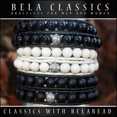 Men's wrap bracelet classic B8 black Onyx and Sterling silver