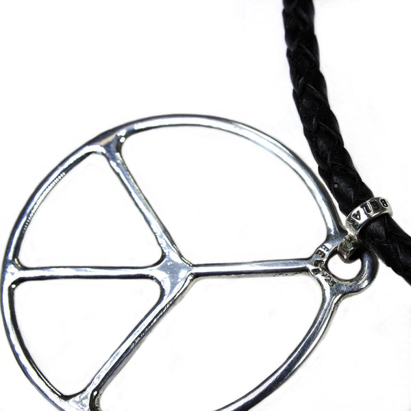 Necklace Tribal serie - Sterling silver Peace sign and braided leather
