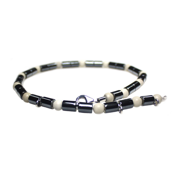 Anklets for men classic - Hematite and Fossil