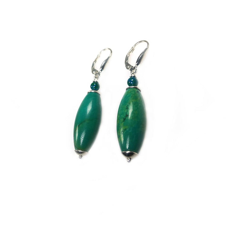 Earrings - Hubei Turquoise and Sterling Silver