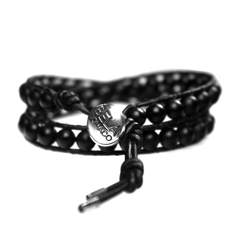 Women's wrap bracelet classic B6 Onyx and Sterling silver