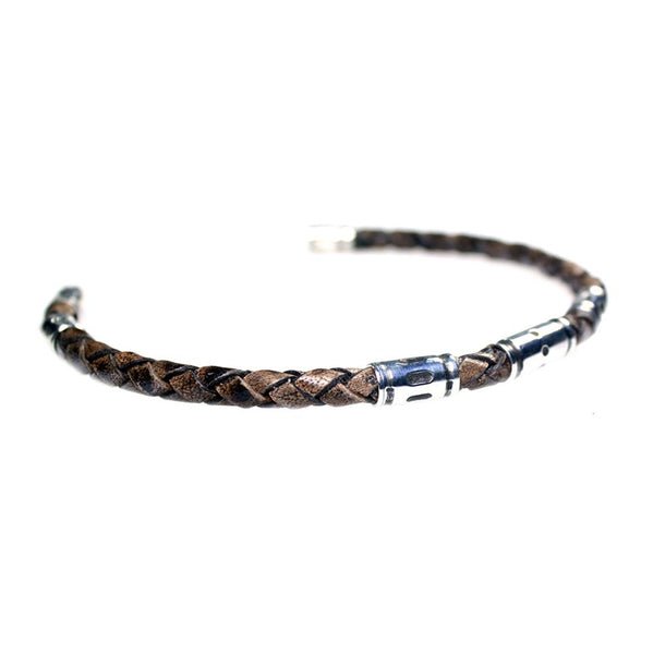 Men's bracelet classic braided Leather and Sterling silver