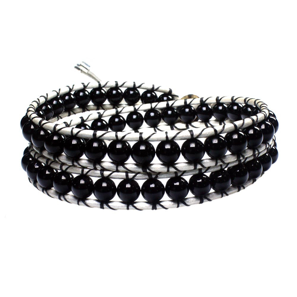Men's wrap bracelet classic B6 black Onyx and white leather