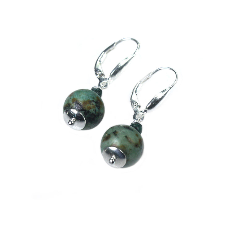 Earrings Classic Bohemian Green - African Turquoise and Sterling Silver