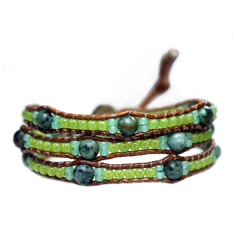 Women's wrap bracelet classic Bohemian Green - African Turquoise, Opalite, and Glass
