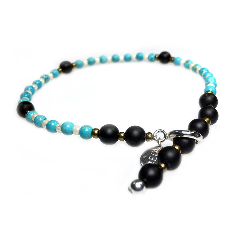 Anklets for women Trendy - Turquoise, Czech glass, Onyx and Sterling Silver