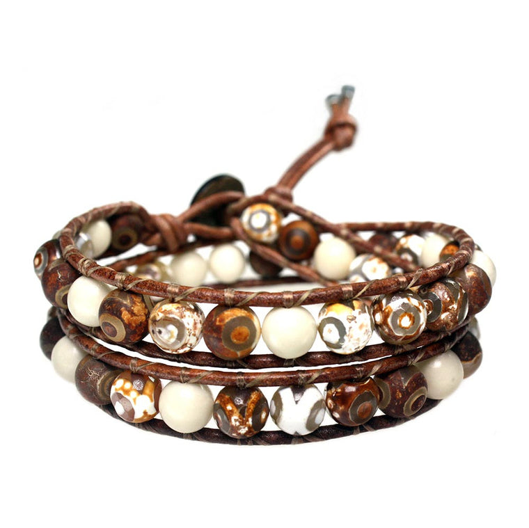 Men's wrap bracelet classic B8 - Tibetan Agate and Fossil