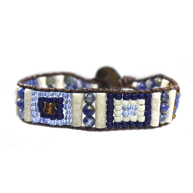 Women's bracelet classic Blue Jeans - Fossil, Sodalite and czech-glass