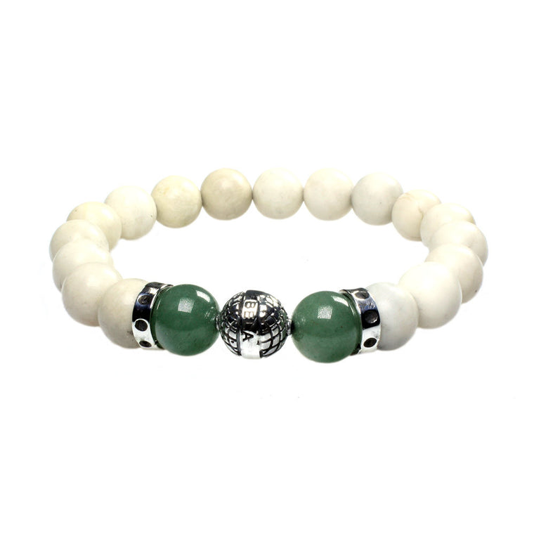 Men's Luxury bracelet B10 - Fossil, Aventurine and Sterling silver