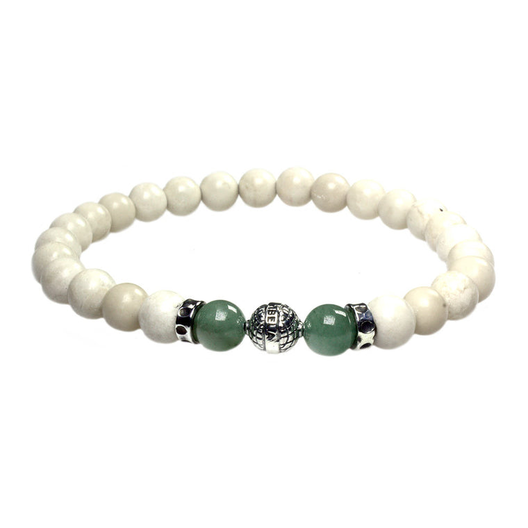 Men's Luxury bracelet B8 - Fossil, Aventurine and Sterling silver