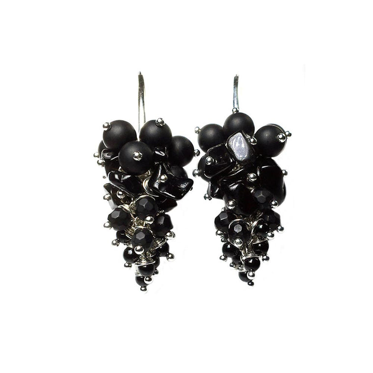 Earrings Black dress - Onyx, Black stone, Agate and Sterling silver