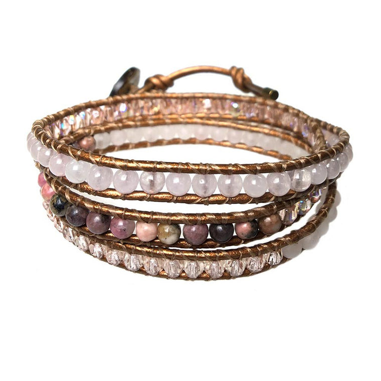 Women's triple wrap bracelet classic B6 Rhodonite, Crystal, Rose Quarts and Metalic Leather