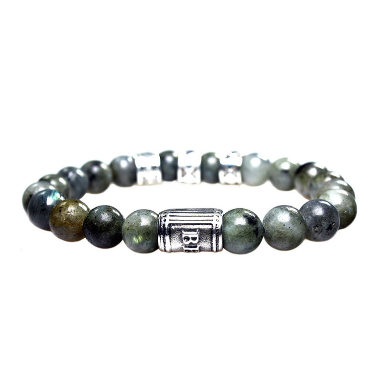 Men's Supreme Luxury bracelet B10 - Labradorite and Hand carved Burnt Oxidized Sterling Silver
