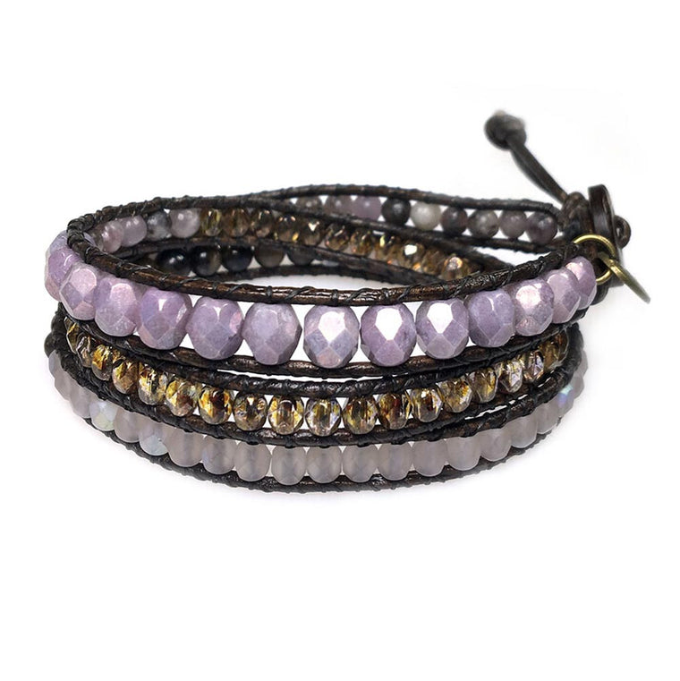 Women's triple wrap bracelet classic B6 Pearls, Purple stone and Crystal