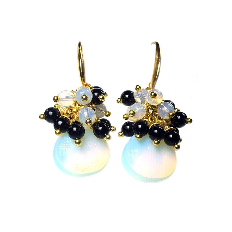 Earrings - Opal Glass and Onyx