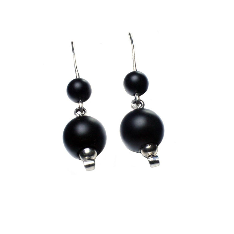 Earrings - Sterling Silver and Onyx