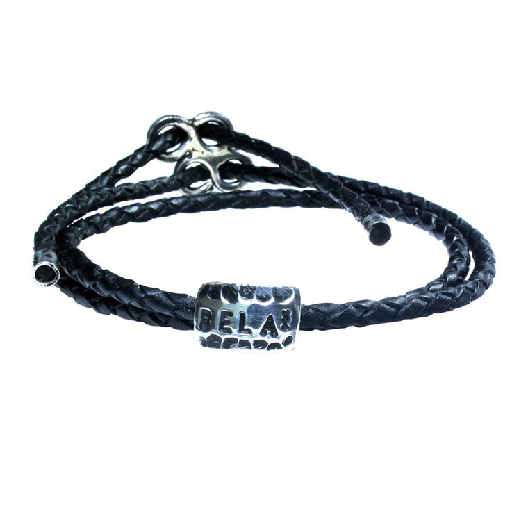 Anklet / Bracelet in-one for men classic - Braided leather and Sterling silver