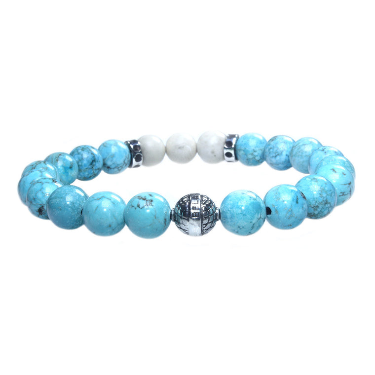 Men's Luxury bracelet B8 - Turquoise, Fossil and Sterling silver