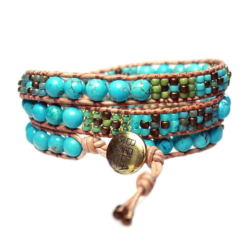 Women's wrap bracelet classic Bohemian Blue - Turquoise and Glass