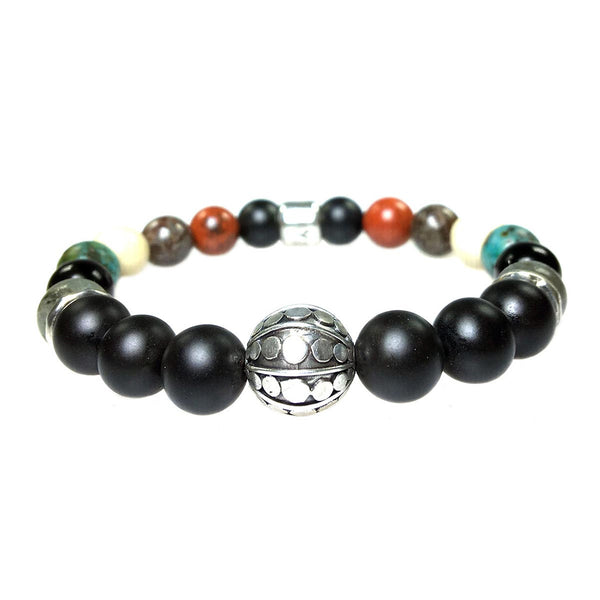 Men's Luxury bracelet B10 Mixed colors - Onyx, Redstone, Labradorite, African Turquois, Fossil