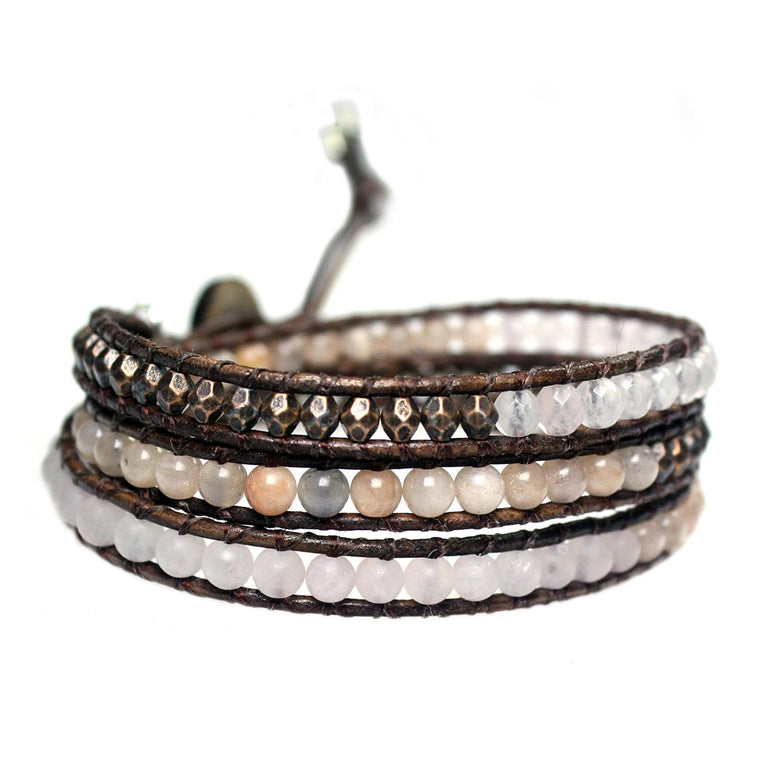Women's triple wrap bracelet classic B4 Sunstone, Rose Quartz and Copper