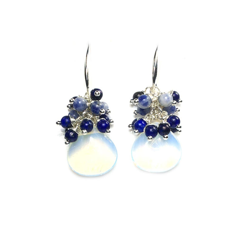 Earrings Blue Jeans - Opal, Sodalite, Lapis Lazuli