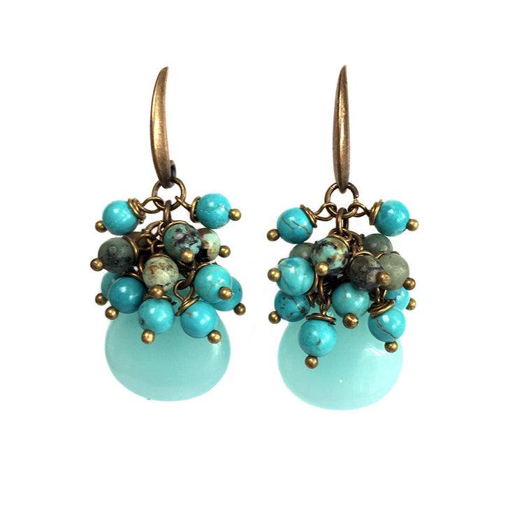Earrings Bohemian Blue - Turquoise and Opalite