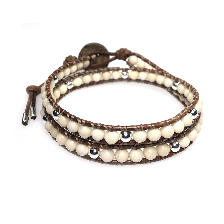 Women's wrap bracelet classic b4, Fossil and Sterling silver