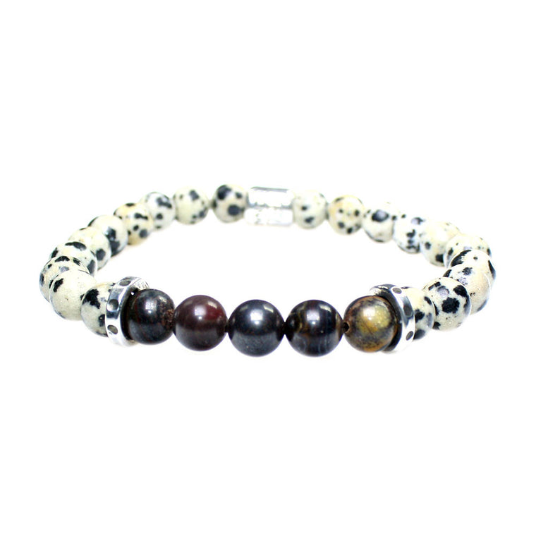 Men's Luxury bracelet B8 Bono - Dalmatian Jasper, Tiger Iron, and Sterling silver