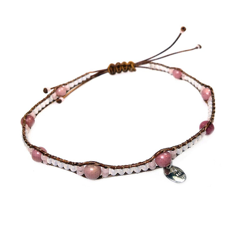 Anklets for women Classic - Opal, Rhodonite