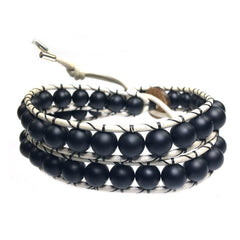 Men's wrap bracelet classic B8 black Onyx and white leather