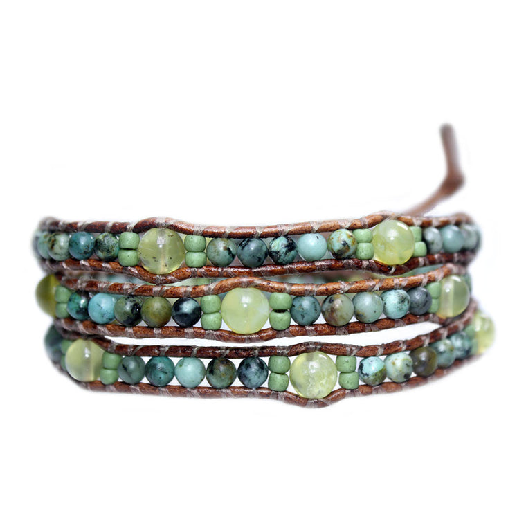 Women's wrap bracelet classic Bohemian Green - African Turquoise, Glass and Natural Yellow Opal