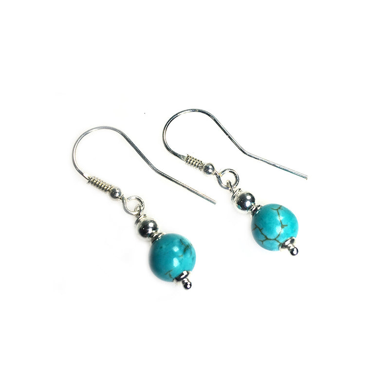 Earrings Classic Bohemian Blue - Turquoise and Sterling Silver