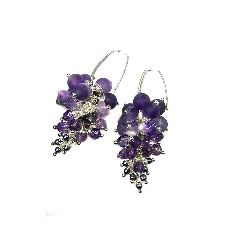 Earrings exclusive - Amethyst, glass beads and Sterling silver