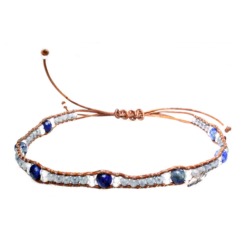 Anklets for women Blue Jeans - Opal, Lapis Lazuli Facet