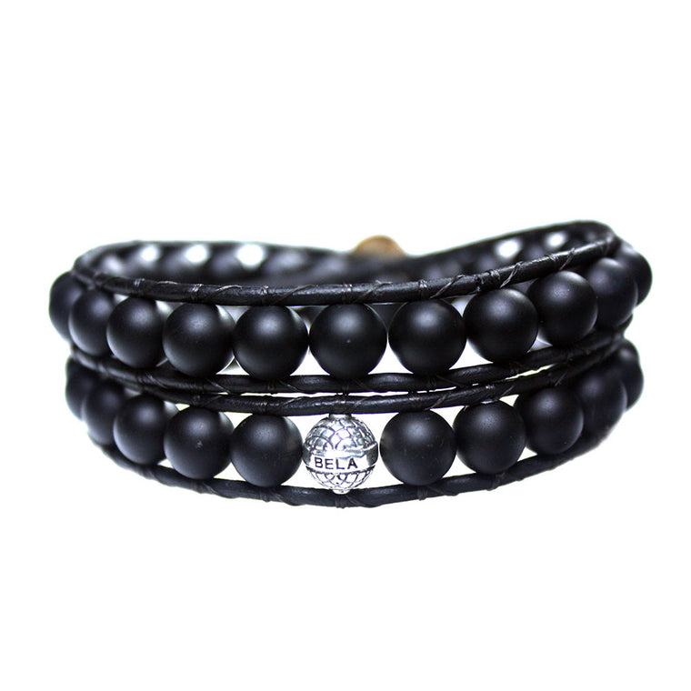 Men's wrap bracelet classic B8 black matte Onyx and Sterling silver