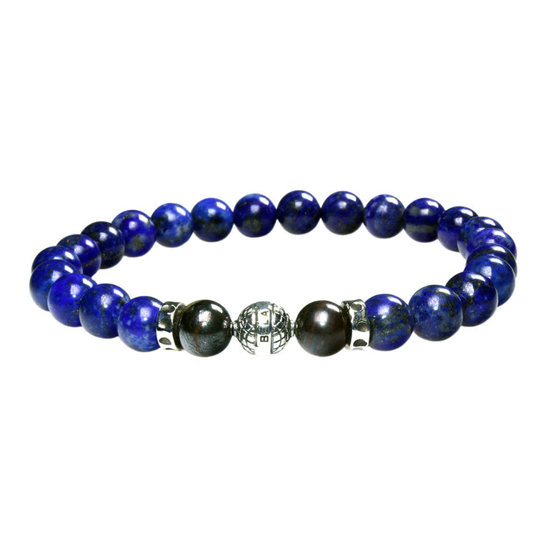 Men's Luxury bracelet B8 - Lapis Lazuli, Tiger Iron and Sterling silver
