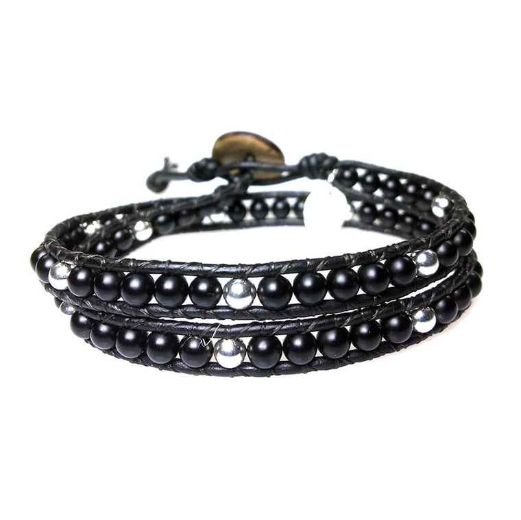 Women's wrap bracelet classic b4, Onyx and Sterling silver