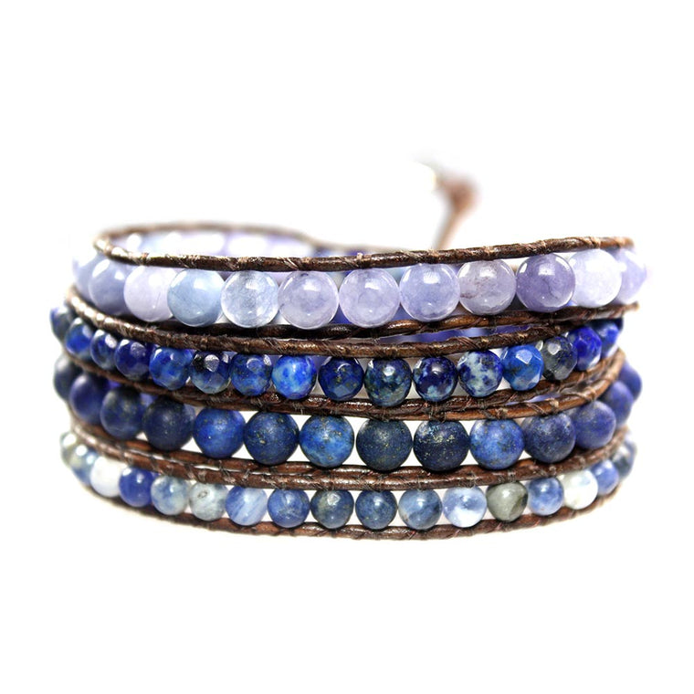 Women's wrap bracelet classic Blue Jeans - Lapis Lazuli, Sodalite facet and blue Quartz