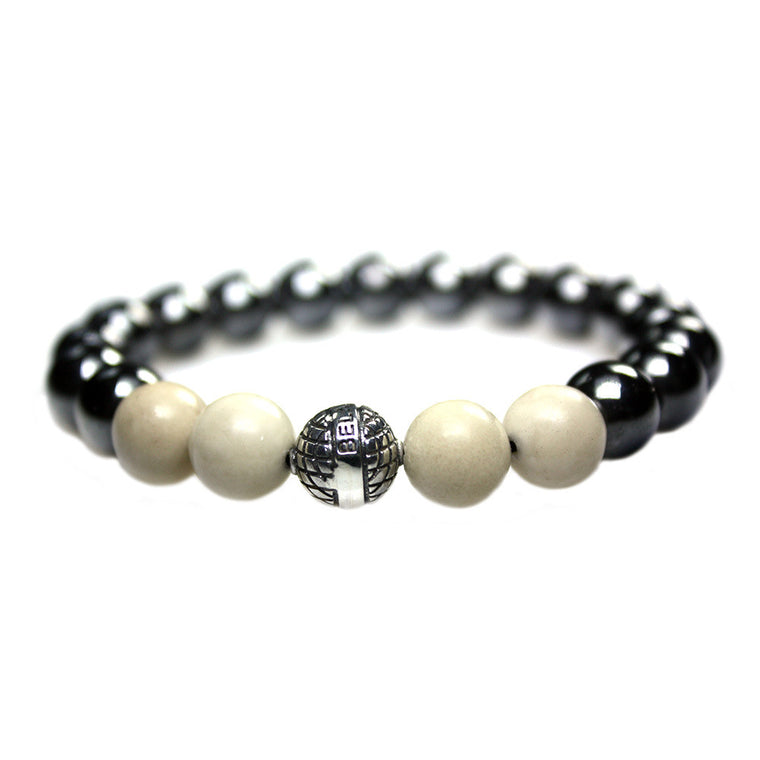 Men's Luxury bracelet B10 - Hematite, Fossil and Sterling silver
