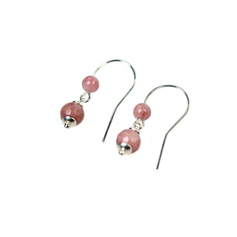 Earrings Trendy - Rhodonite and Sterling Silver