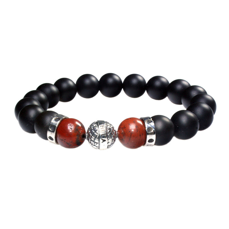 Men's Luxury bracelet B10 - Onyx, Redstone and Sterling silver