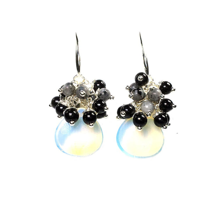 Earrings Black dress - Opal, Onyx, Labradorite