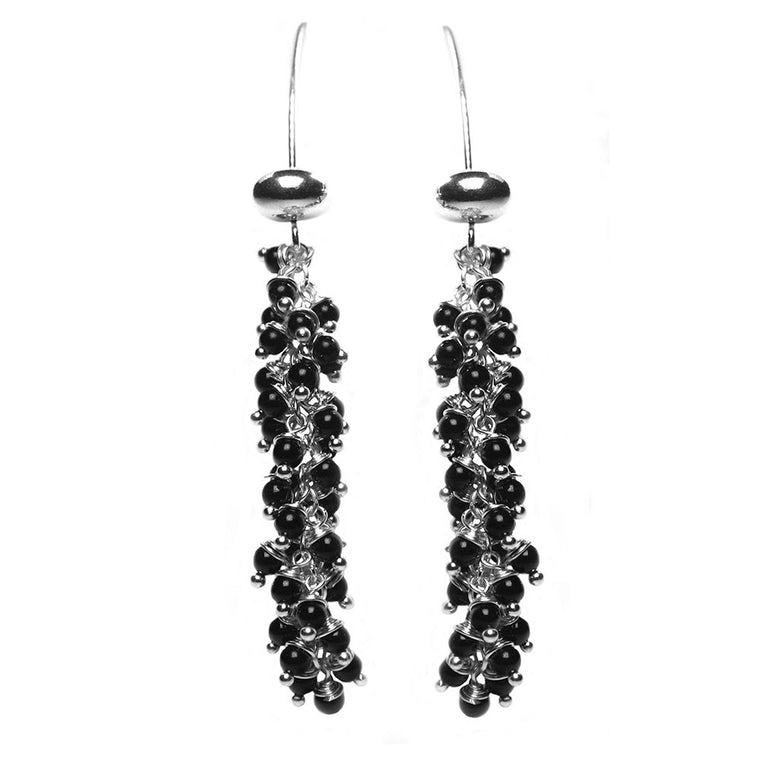 Earrings - Onyx and Sterling Silver