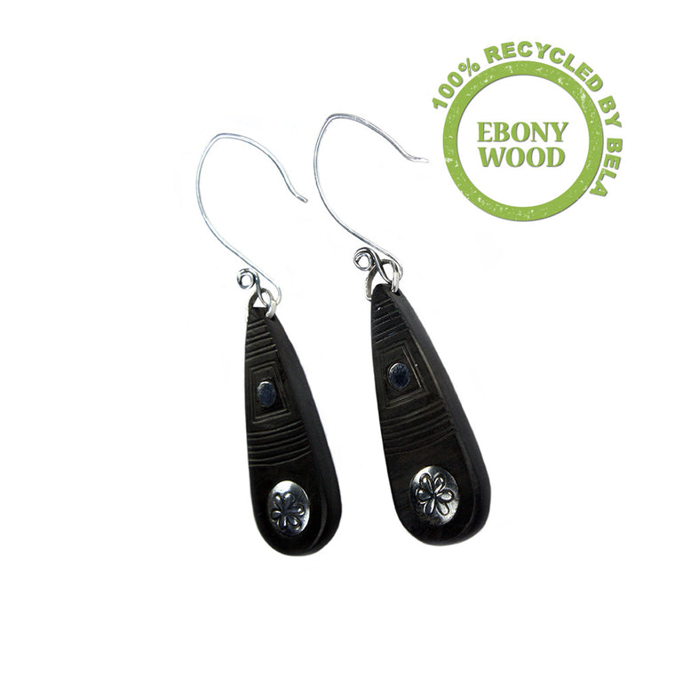 Earrings Bohemian - Ebony wood and Sterling Silver