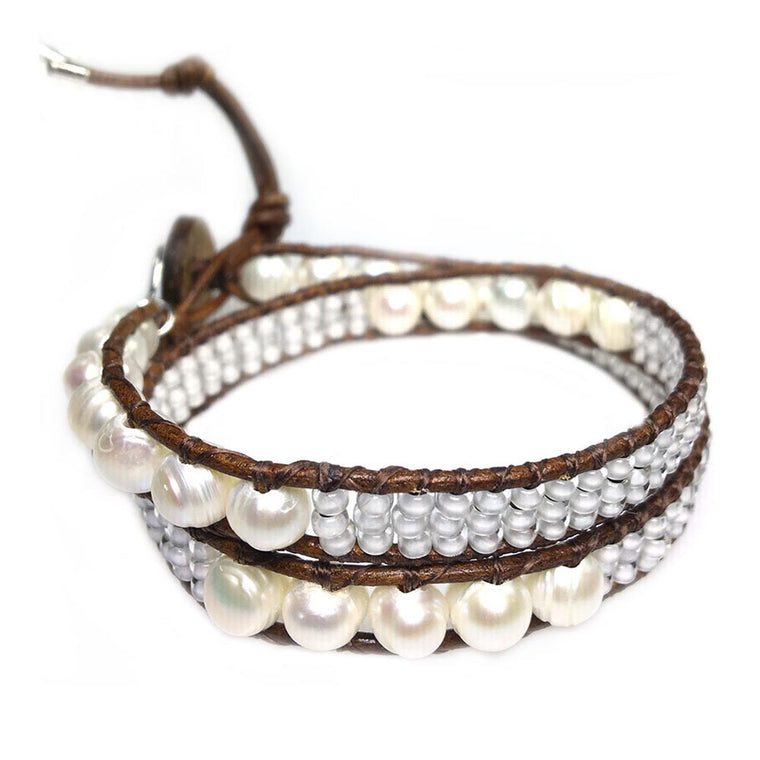 Women's wrap bracelet classic B8 Freshwater pearls and old school leather