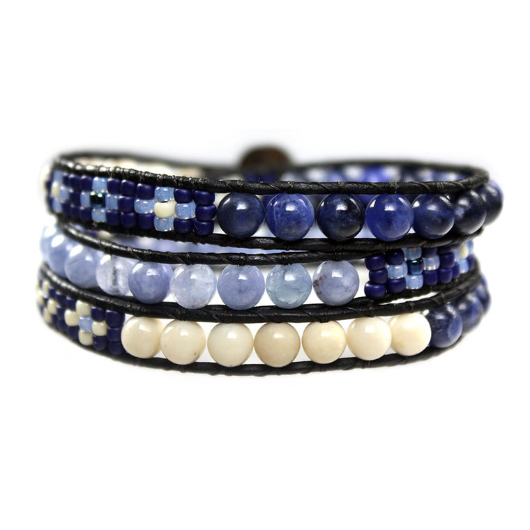Women's wrap bracelet classic Blue Jeans - Fossil, Sodalite, blue Quartz and czech-glass
