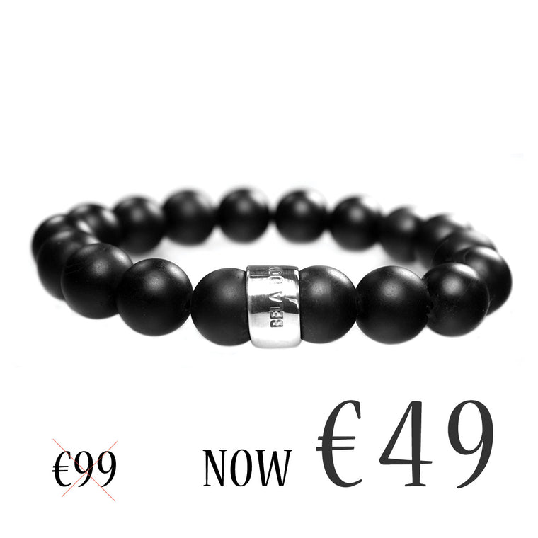 Men's Luxury bracelet B12 - Stone washed Onyx and Sterling silver